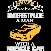 housse de coussin jamais un homme sous estimer sa voiture de muscle spreadshirt. Black Bedroom Furniture Sets. Home Design Ideas